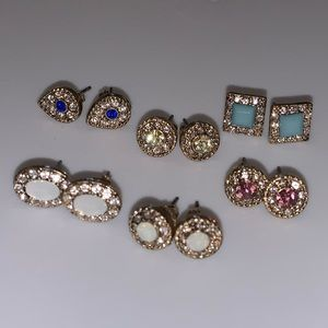 Six pairs of stone accent earrings